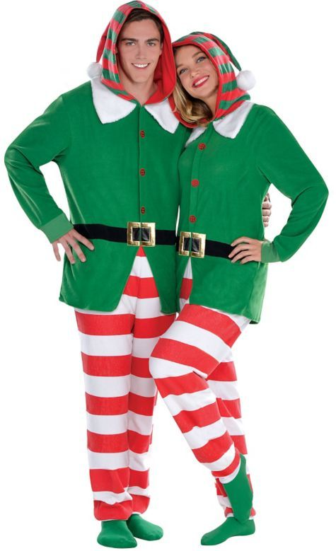 OMG I want these!!! Adult Elf One Piece Pajamas - Party City ...