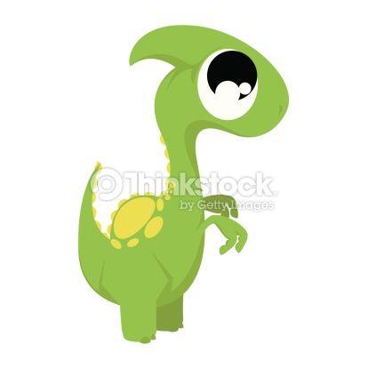 Clipart vectoriel : Vector Cute Cartoon Green Dinosaur Isolated