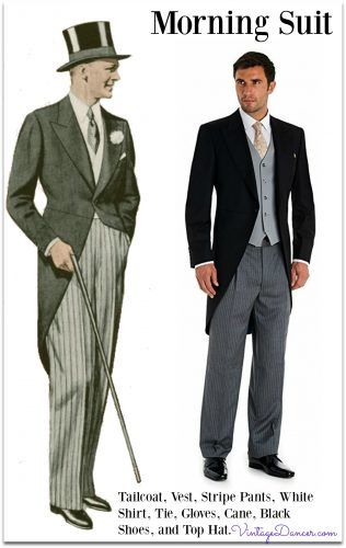 3642e7c18 1900-1940 Classic morning suit of tailcoat, striped pants, double breasted  vest, club or wingtip collar white shirt, white gloves, cane, lace up dress  boots ...