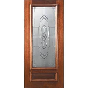 GlassCraft DG MAH Kensington 34L 68 Mahogany artistic glass door