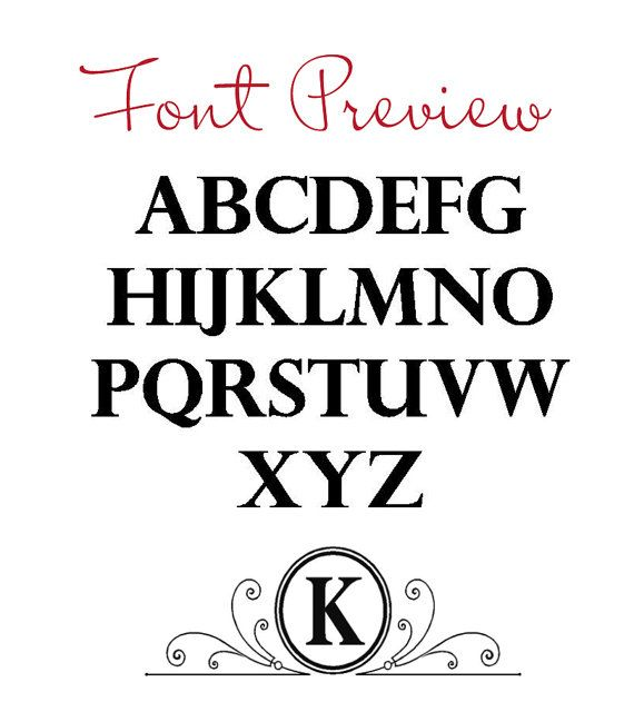 Vinyl Decal Monogram Letter with Scrolls 10 X by HouseHoldWords