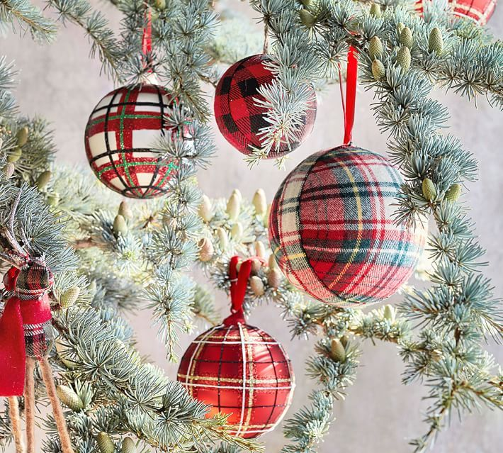Decorative Christmas Ball Ornaments Plaid Fabric Ball Ornament  Holiday  Classic Christmas