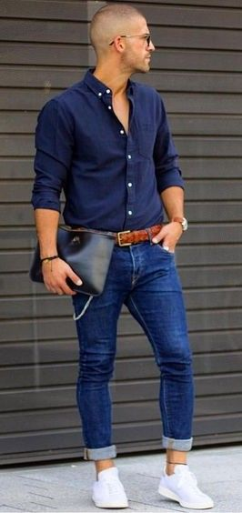 Blue on blue with rolled up jeans and tennis shoes. A very weird look I  think. d94815b603e