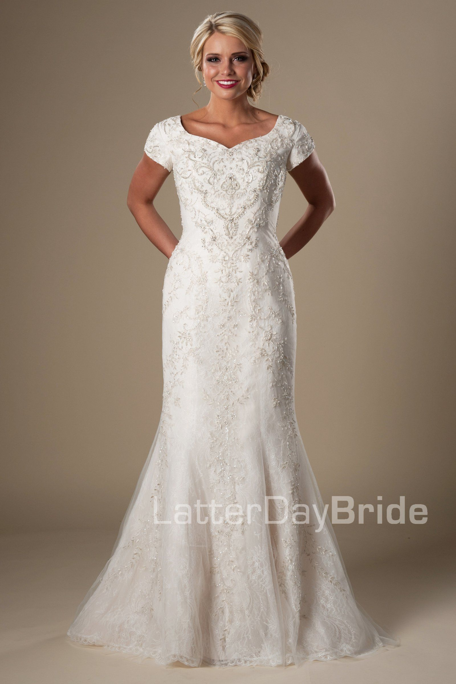 08aba217f92e Fit & flare modest bridal gown, style Eliason, is part of the LatterDayBride  Collection, a Utah wedding dresses.