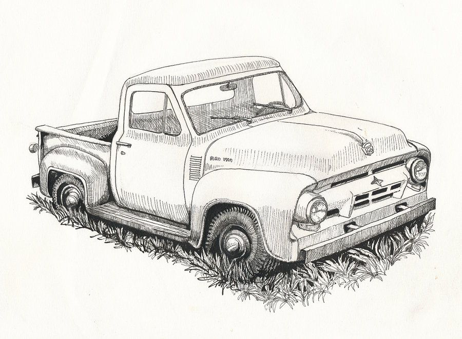 Old Ford Truck Drawing Truck accessories ford, Old ford