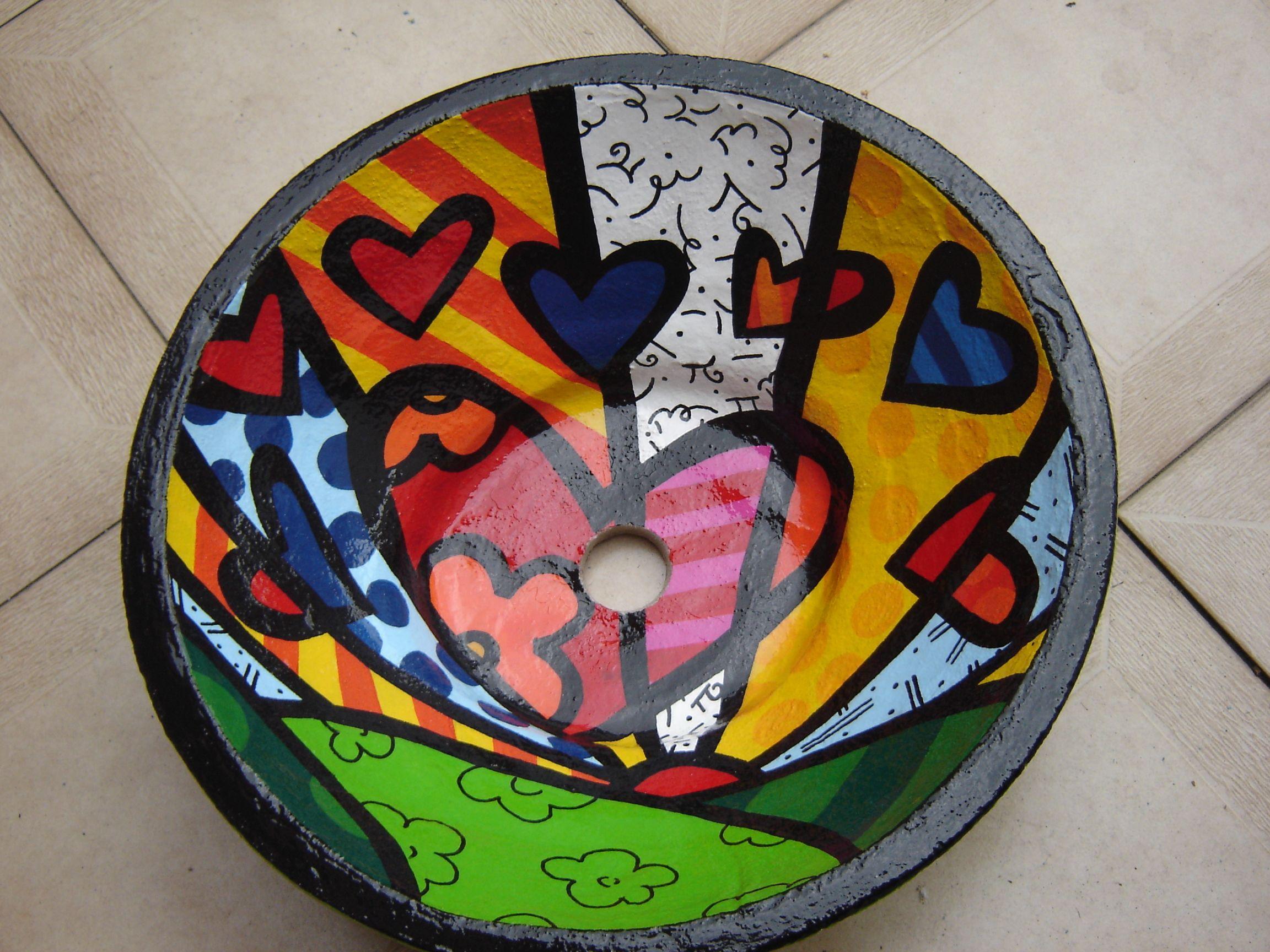 bacha pintada a mano - britto | pintura | pinterest - Bachas Para Bano Pintadas A Mano