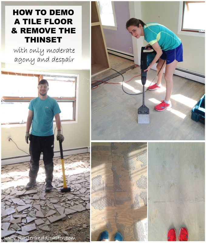 Floor No More And How To Mostly Remove Thinset From Wood Subfloors Plaster Disaster Tile Removal Floor Makeover Flooring