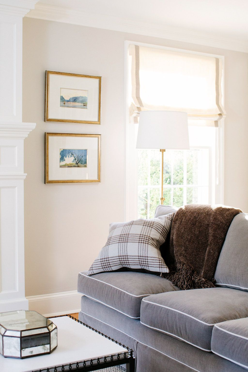 Grey sofa with white piping detail   Erica Burns   LIVING ROOMS ...