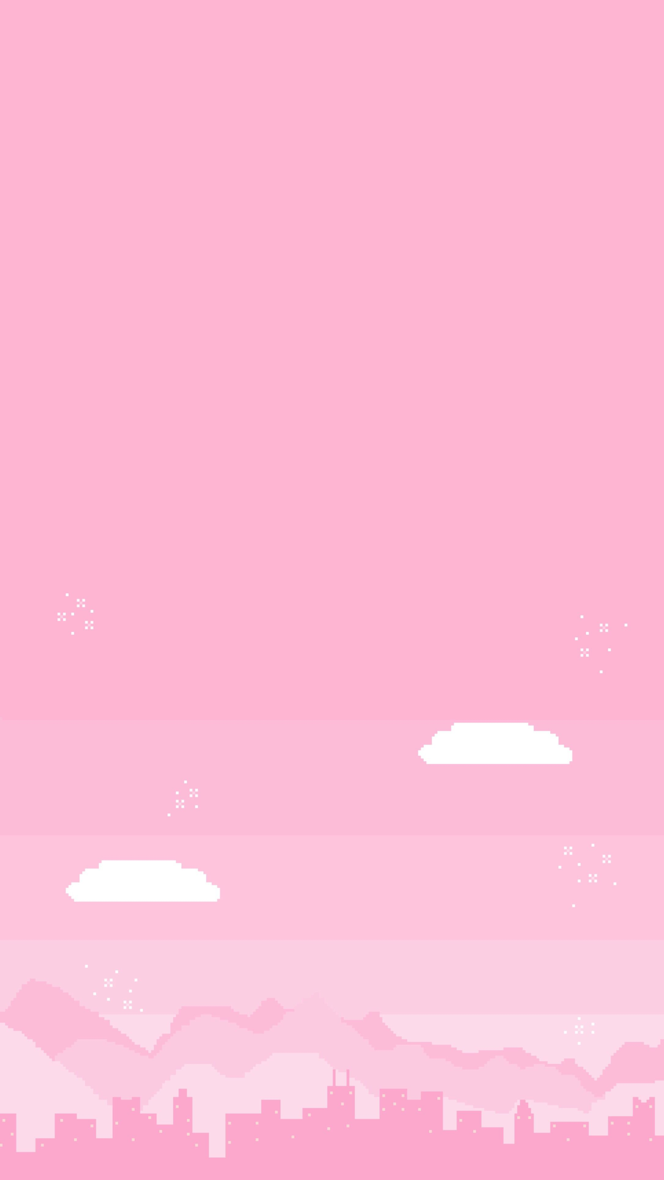 Wallpaper Pink Pixel City In 2019 Pink Aesthetic