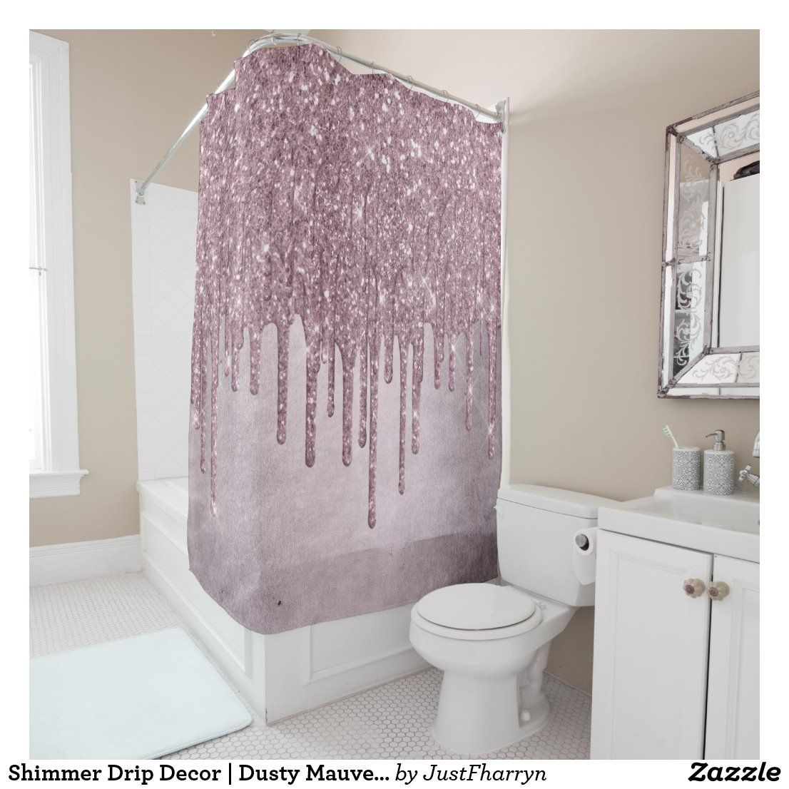 Shimmer Drip Decor Dusty Mauve Pink Ice Drizzle Shower Curtain