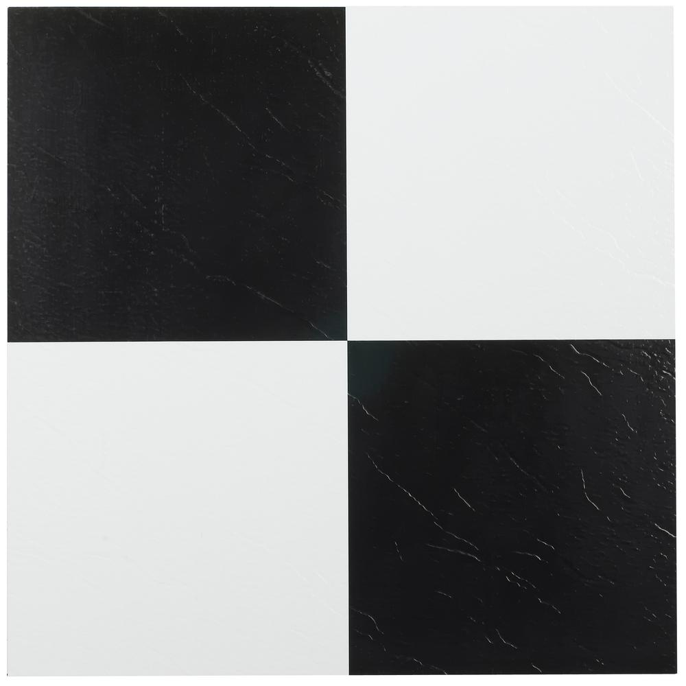 Achim Sterling Black And White Checkered 12 In X 12 In Peel And Stick Vinyl Tile 45 Sq Ft Case Stt1m1034 Vinyl Flooring Vinyl Tile Peel And Stick Vinyl