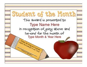 Student Of The Month CertificateAward Sample  Apple  Pencil