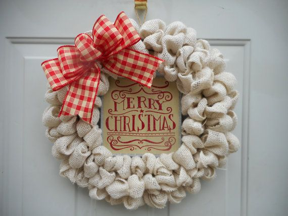 Christmas burlap wreath cream Christmas by ChloesCraftCloset
