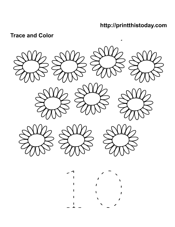 count and color 10 flowers | Free Printable Worksheets and coloring ...