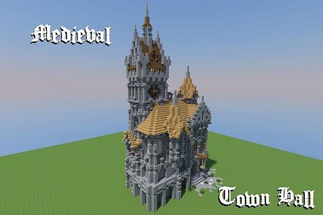 Medieval Town Hall Minecraft Project | Minecraft | Minecraft
