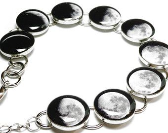 Phases Of The Moon Bracelet, Silver Plated Resin Handmade Moon Bracelet, Space Jewelry, Solar System, Lunar, Moon Phase Bracelet