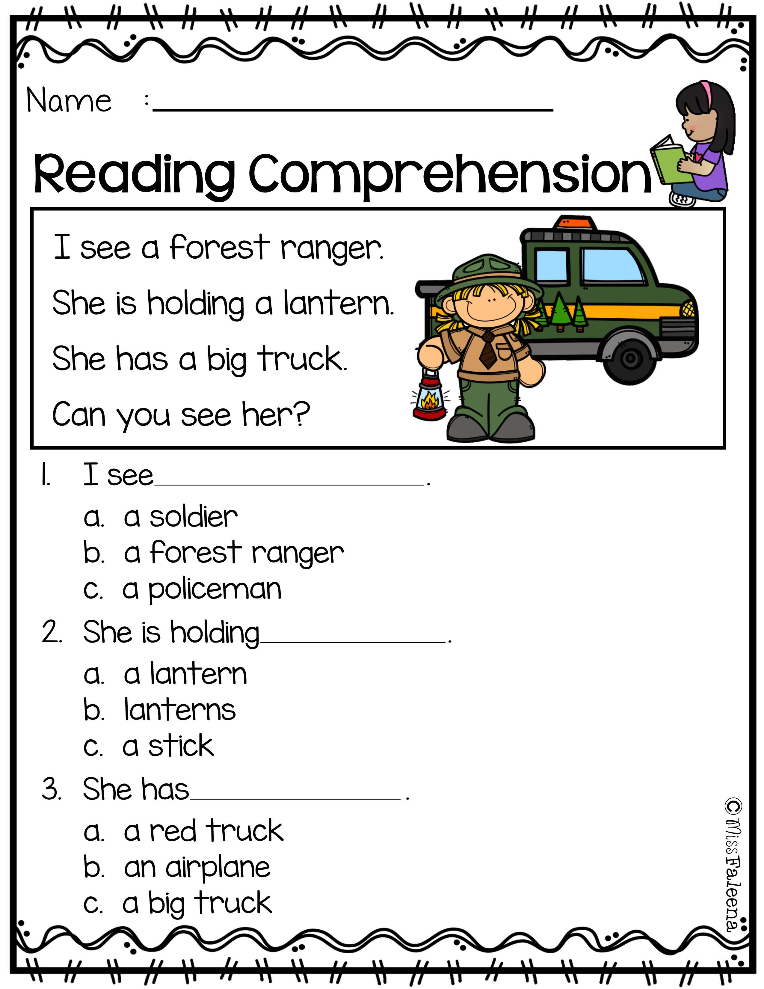 Free Reading Comprehension Is Suitable For Kindergarten Students Or B Reading Comprehension Reading Comprehension Kindergarten Reading Comprehension Worksheets [ 3300 x 2550 Pixel ]