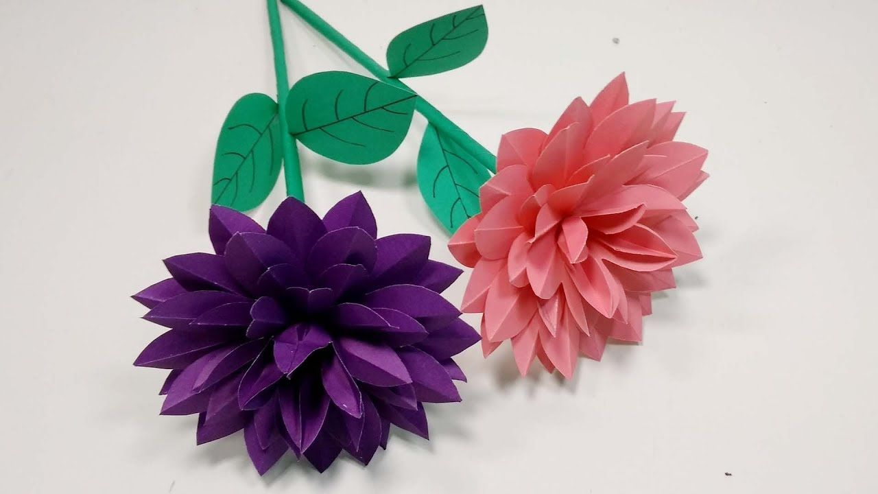 Stick Flower Very Beautiful Stick Flower Making With Color Paper Flowers Abigail Paper Crafts Paper Flowers Craft Paper Flowers Flower Crafts