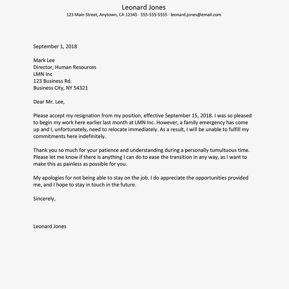 Get Our Example of Resignation Letter Due To New Job