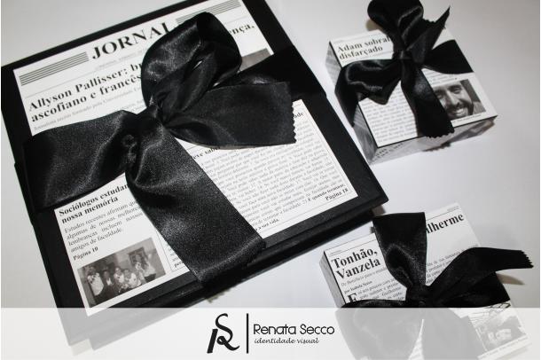 Caixa Personalizada para formandos de jornalismo; presentes personalizados. ♥ Orçamentos: contato@renatasecco.com.br