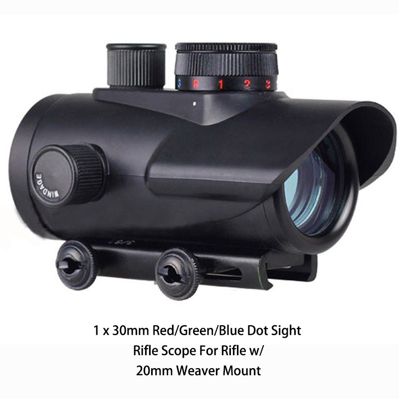 1 x 30mm Red/Green/Blue Dot Sight Rifle Scope For Rifle w/ 20mm Weaver Mount #Affiliate