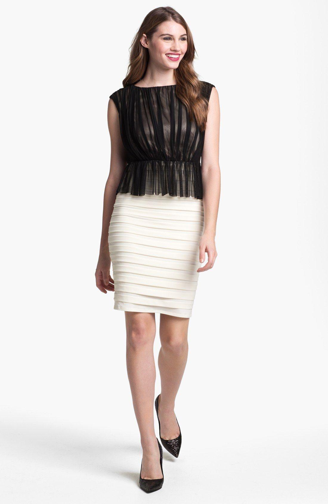 http://www.lyst.com/clothing/jax-mixed-media-peplum-sheath-dress ...