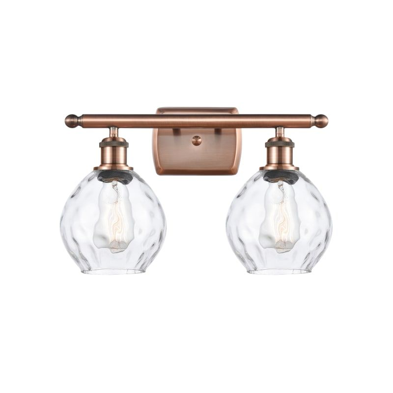 """Photo of Innovations Lighting 516-2W Small Waverly Small Waverly 2 Light 16 """"Wide Bathroo Antique Copper / Clear Interior Lighting Bathroom Faucets Vanity Light"""