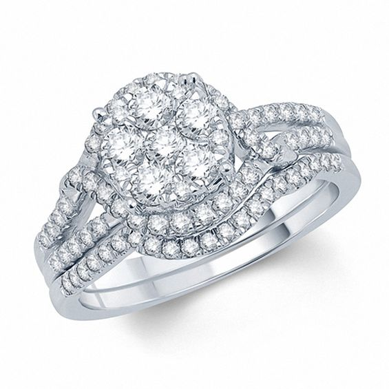 1 Ct T W Diamond Cluster Split Shank Bridal Set In 10k White Gold Bridal Ring Sets Bridesmaid Jewelry Sets Band Engagement Ring