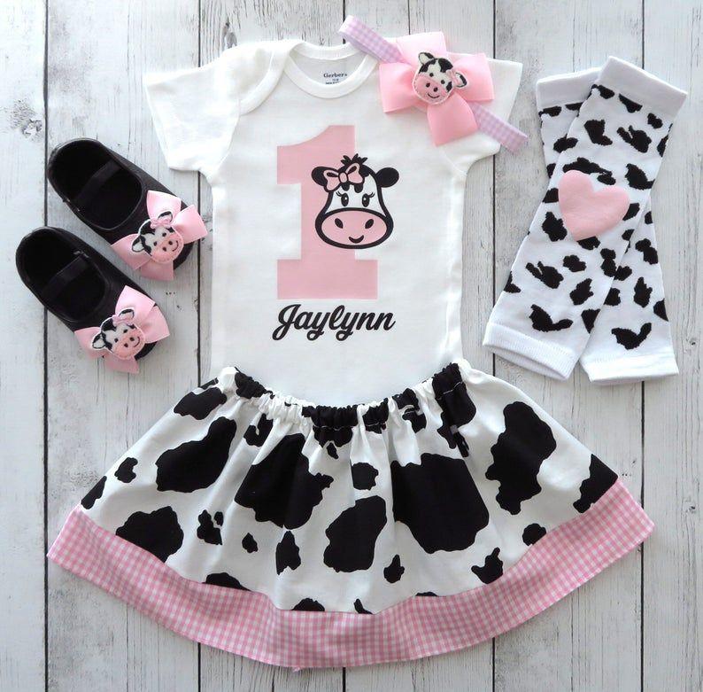 Granero primer cumpleaños traje en rosa con zapatos de vaca - vaca 1, chica 1st bday traje, vaquera, animal de granja, corral animal cumpleaños chica