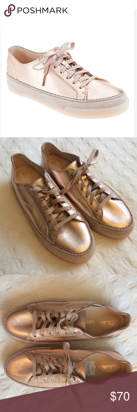 9e6d3444f211 New Clarks Artisan Metallic Rose Gold Sneakers These are very unique and  pretty rose gold leather sneakers! They are very bright in person.
