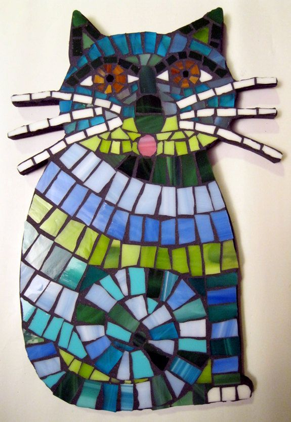 TWO Funky Blue Whiskered Cats Mosaic Tile Stained Glass Wall Art ...