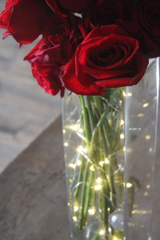 Pinterest & Warm White Fairy Lights Wedding Centerpiece with Roses in glass vase ...