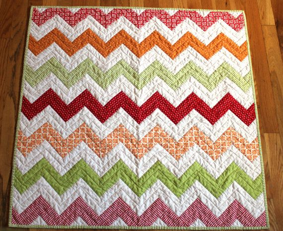 Modern Baby Quilt - Chevron -  Gender Neutral Baby Quilt on Etsy, $99.00