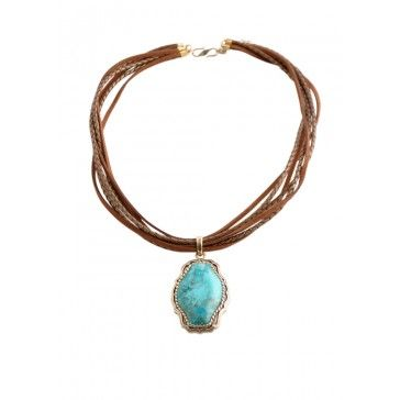 Six Strand Leather and Turquoise Necklace