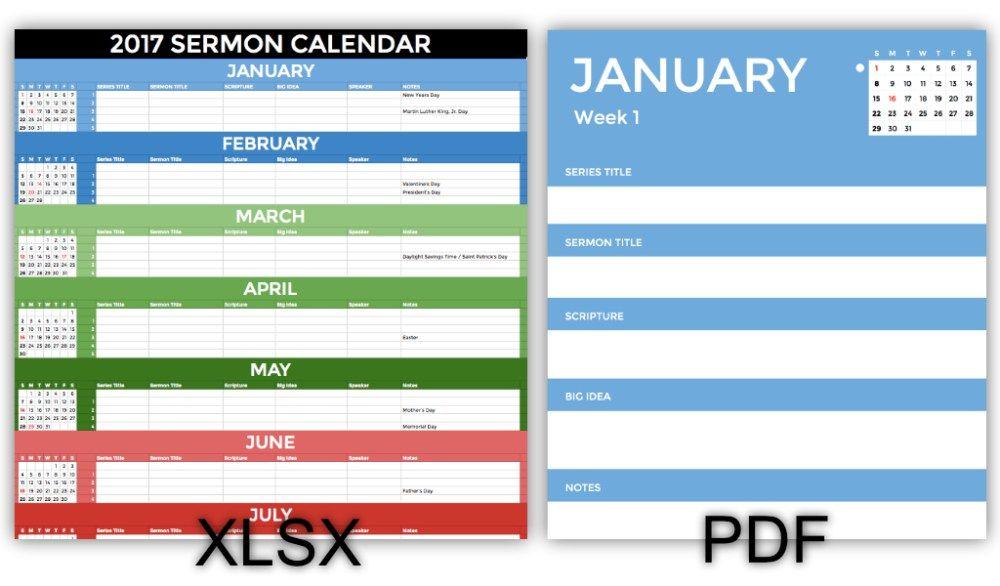 2017 Sermon Calendar Screenshot | Church Leadership | Pinterest | Bible