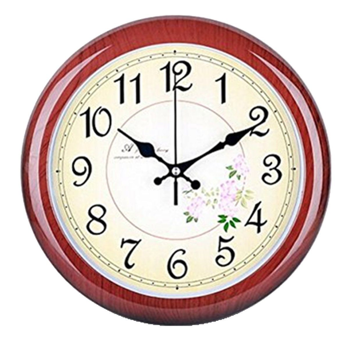 Foxtop 12 Inch Retro Non Ticking Silent Quartz Decorative Wall Clock Wood Like Pattern With Cherry Blossoms Dial Design For Living Room Bedroom Clock Wall Decor