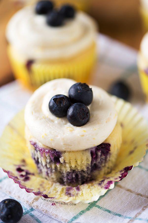 Lemon Blueberry Cupcakes | http://www.tablefortwoblog.com