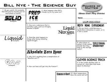 Bill Nye Phases Of Matter Ultimate Watch Along Worksheet With