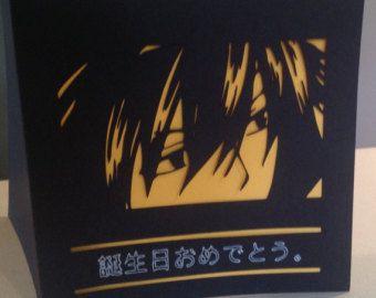 Papercut Manga Style Anime Birthday Card