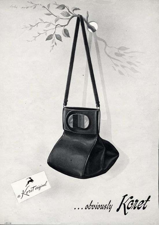 dd7d5e4ff9f46 KORET Original Purse - Handbag Ad - 1946 - Black Purse Unusual Shape - AD  #KoretOriginalHandbags
