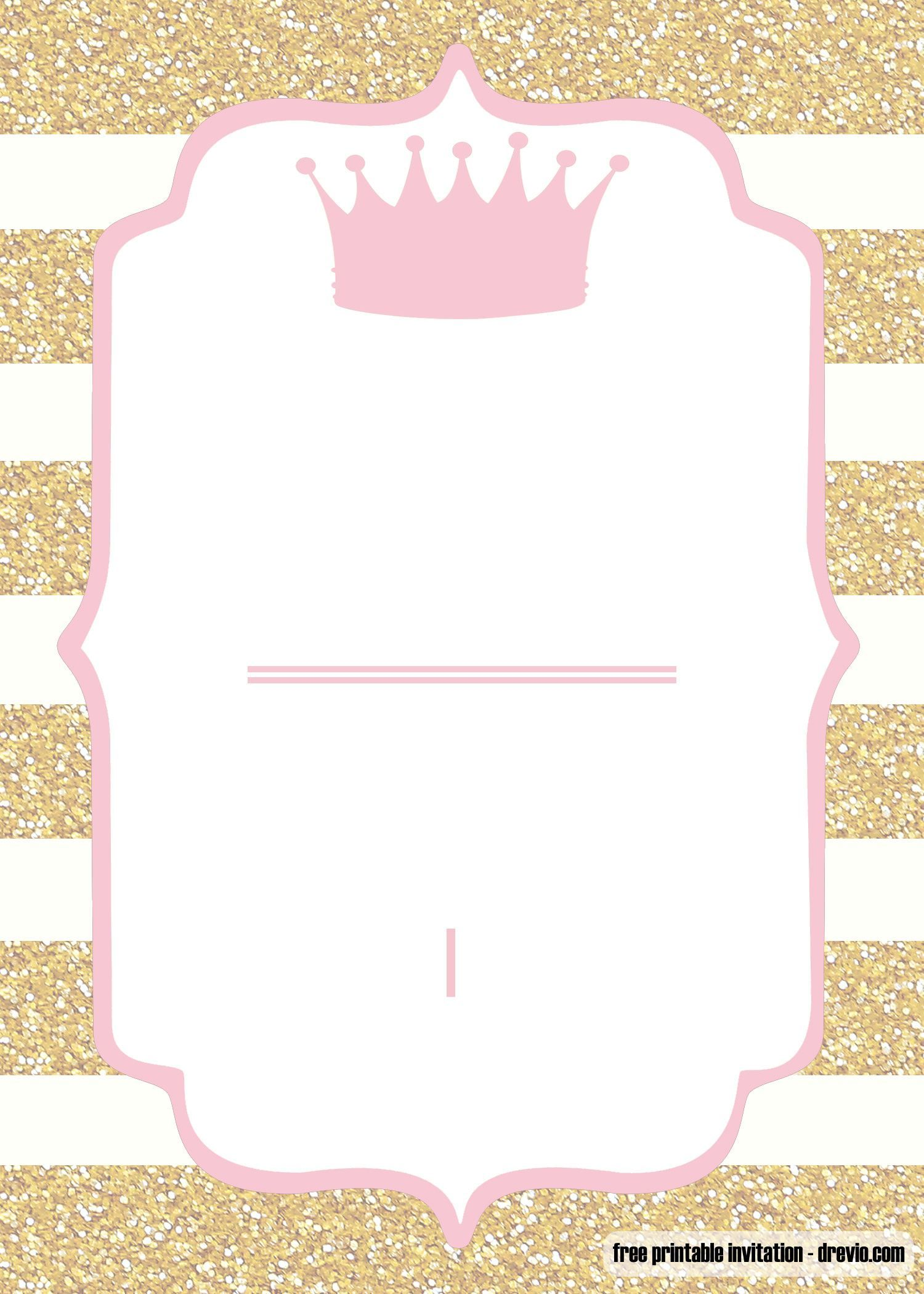 Cool Free Printable Pink And Gold Baby Shower Invitation Templates