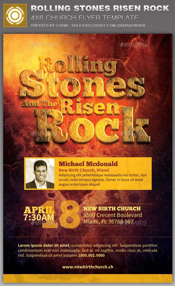 Rolling Stones Risen Rock Church Flyer Template  Flyer Template