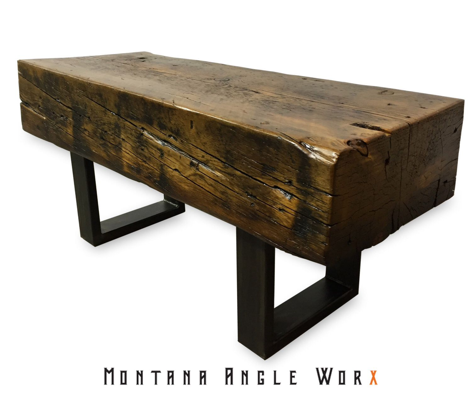 Elegant Reclaimed Montana Bridge Beam Bench, Timber Bench, Rustic Bench, Coffee  Table, Refined