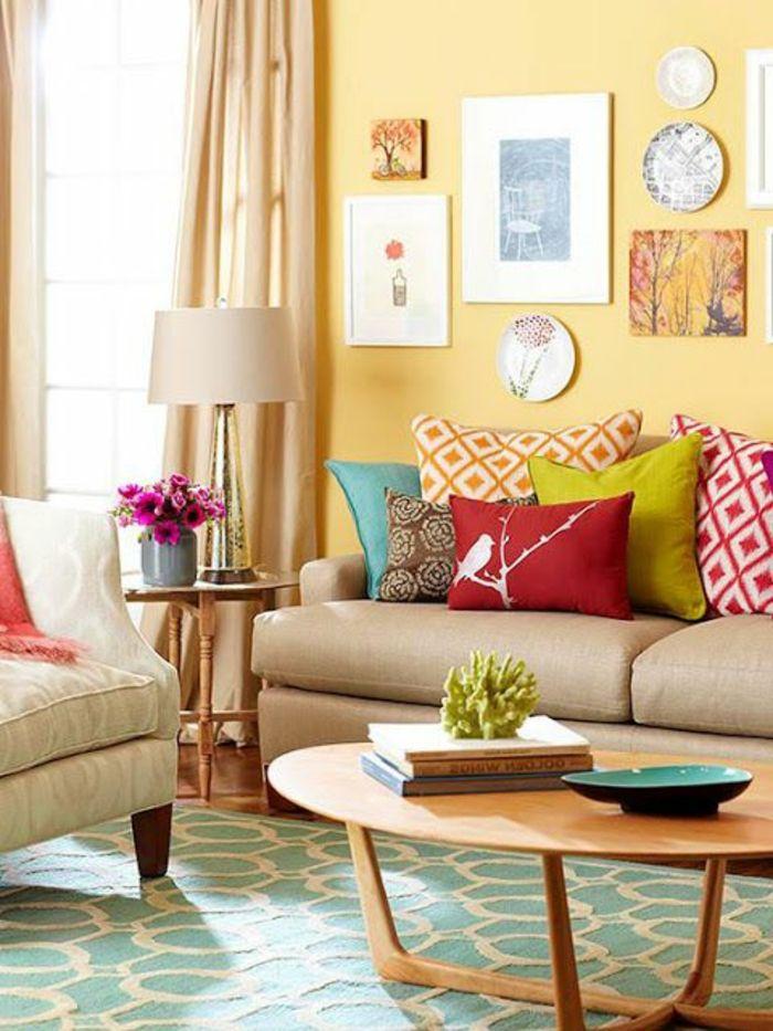 wohnideen wohnzimmer grun, awesome farbige wände gelbe wandfarbe grüner teppich wohnideen, Design ideen