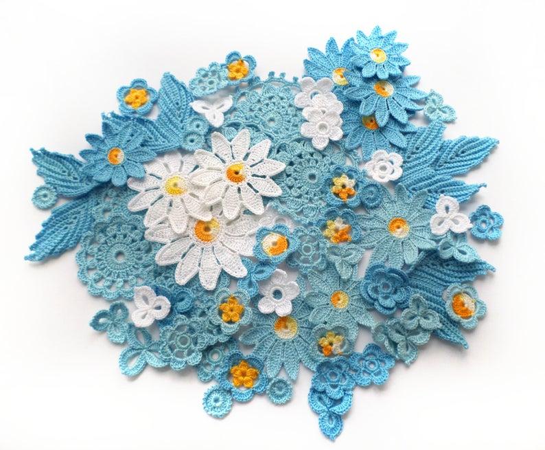 Irish crochet flower motifs Yellow Blue floral applique Irish lace Set of 70 Hobby kit Boho hippie clothes embellishment
