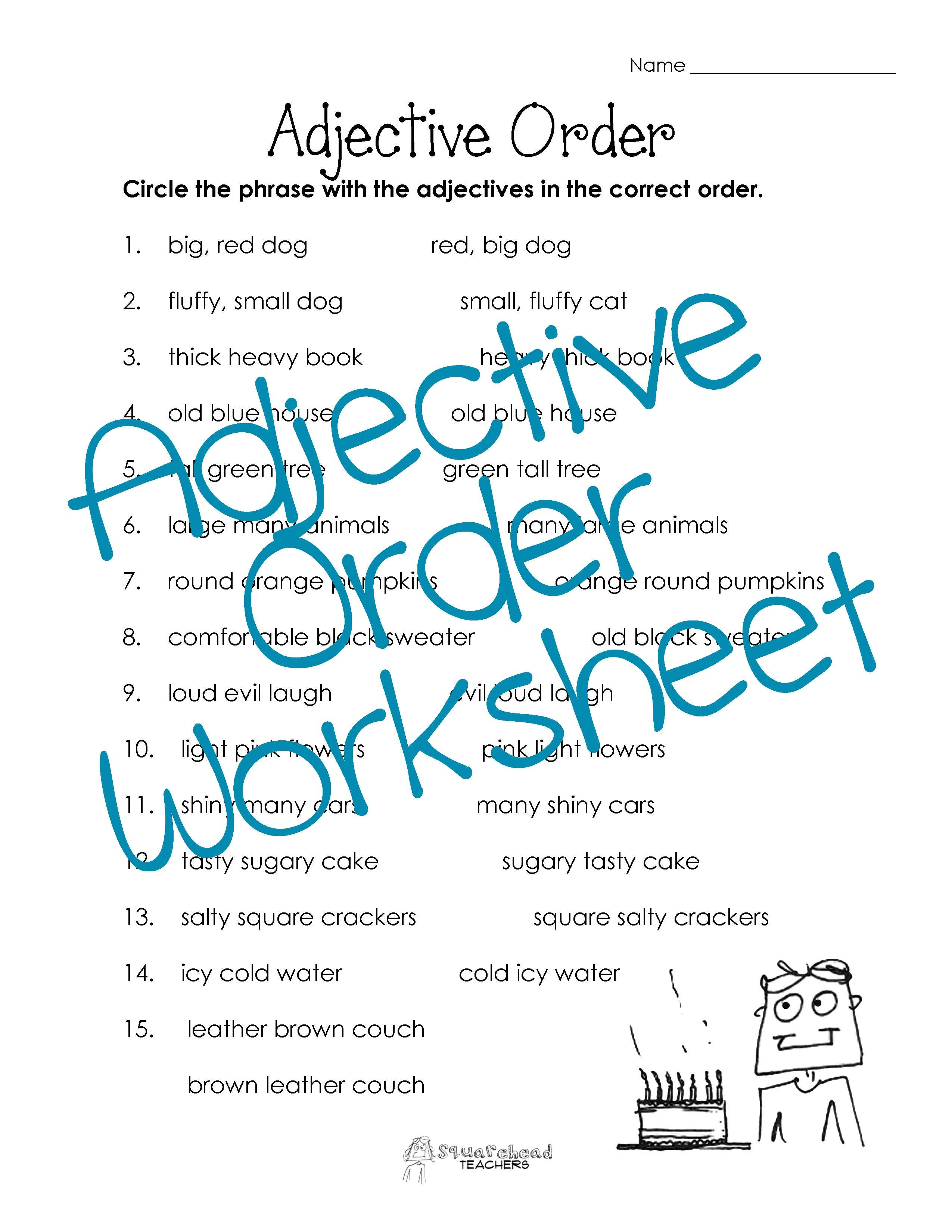 hight resolution of One of the standards in the Common Core is to order adjectives within  sentences according to conventional patterns .   Order of adjectives
