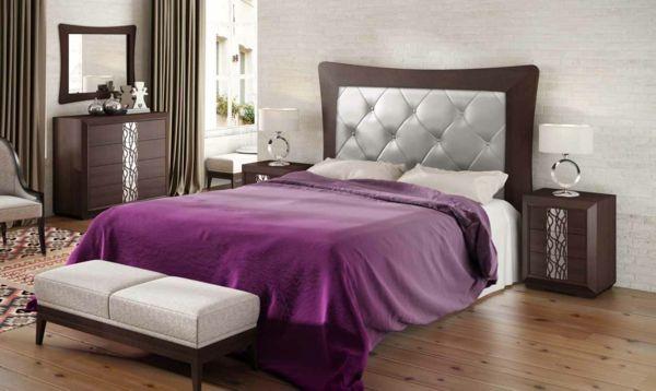 schlafzimmer silberglanz leder kopfteil bettbank lila tagesdecke