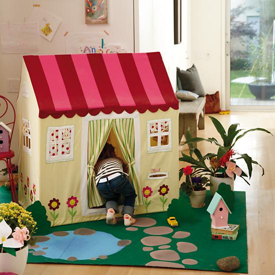 Kids Imaginary Yellow Cottage Playhome in Playhomes u0026 Tents | The Land of Nod & Kids Imaginary: Yellow Cottage Playhome in Playhomes u0026 Tents | The ...