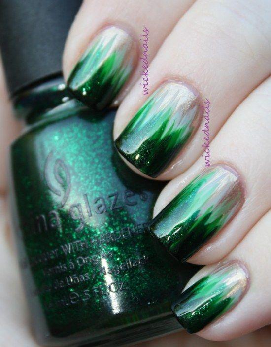 diseños uñas otoño color verde esmeralda | Nails art | Pinterest ...