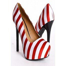 "Buy RED WHITE SATIN NAUTICAL STRIPES PLATFORM HEEL PUMPS.  Christmas ""Candy cane"" Heeels"